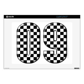 "09 checkered auto racing number 15"" laptop skins"