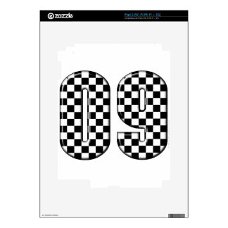 09 checkered auto racing number iPad 2 decals