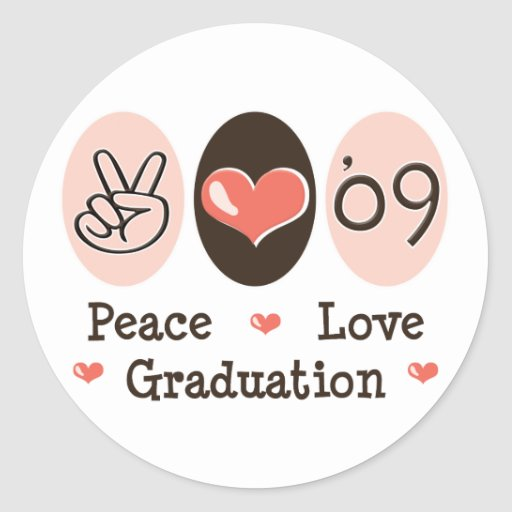 09 pegatinas de la graduación del amor de la paz pegatina redonda