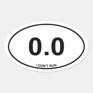 0,0 No corredor Pegatina Ovalada