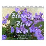 0 2013 azules florecientes calendario