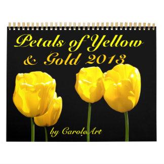 0 2013 pétalos de amarillo y de oro calendario de pared