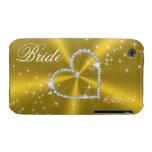 0-BRIDE - CORAZÓN del DIAMANTE EN el SATÉN del ORO iPhone 3 Fundas