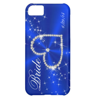 0-BRIDE - DIAMOND HEART ON ROYAL BLUE SATIN CASE FOR iPhone 5C