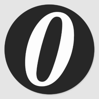 0 Large Round Black Number Stickers by Janz