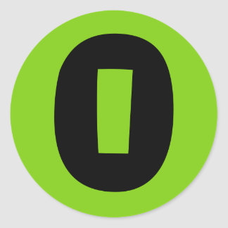0 Large Round Green Number Stickers by Janz
