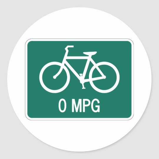0 MPG Bicycle Sticker