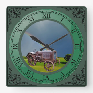 0LD TRACTOR SQUARE WALL CLOCK