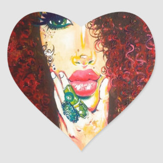10000 Curls Heart Sticker