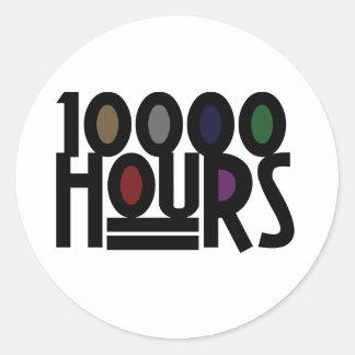 10000 HOURS ROUND STICKER