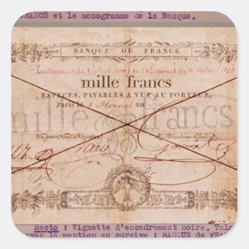 1000 francos de billete de banco a partir del 8 pegatina cuadrada