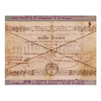 1000 Francs banknote from 8 Floreal, An X Postcard