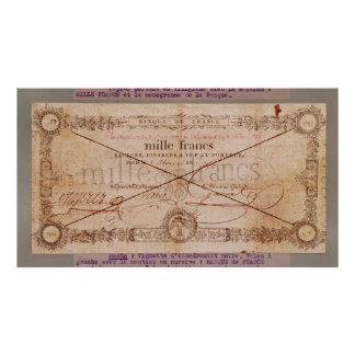 1000 Francs banknote from 8 Floreal, An X Poster