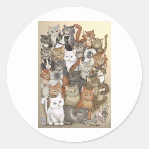 1000 gatos pegatina redonda