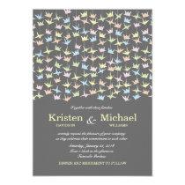 1000 Hanging Origami Paper Cranes Wedding (Grey) Invitation