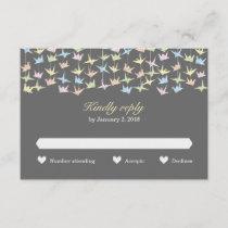 1000 Hanging Origami Paper Cranes Wedding (Grey) RSVP Card