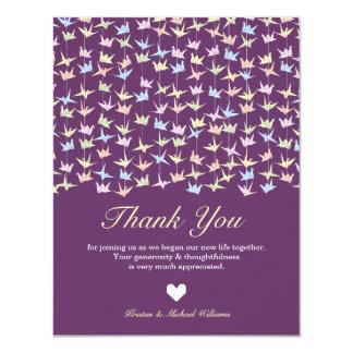 1000 Hanging Origami Paper Cranes Wedding (Purple) Card