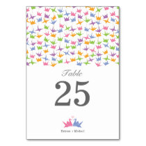 1000 Hanging Origami Paper Cranes Wedding Table Number