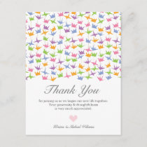 1000 Hanging Origami Paper Cranes Wedding Thank You Card