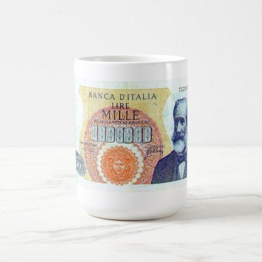 1000 LIRAS ITALIANAS DE TAZA DE COFFEE/TEA