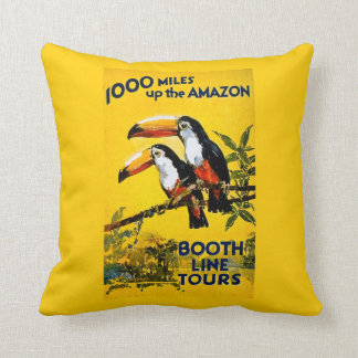 1000 Miles Up the Amazon Booth Line Tours Vintage Pillow