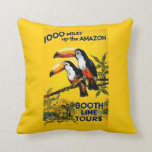1000 Miles Up the Amazon Booth Line Tours Vintage Throw Pillow