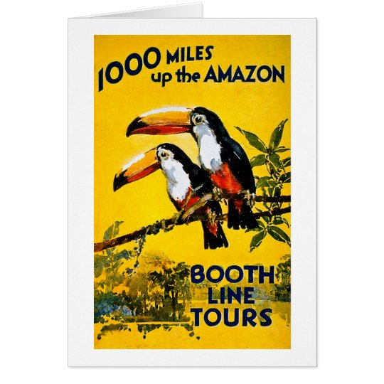 1000 Miles Up The Amazon- Vintage Travel Poster Card