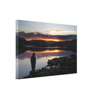 1000 salida del sol del lago island - desierto de impresión en lienzo