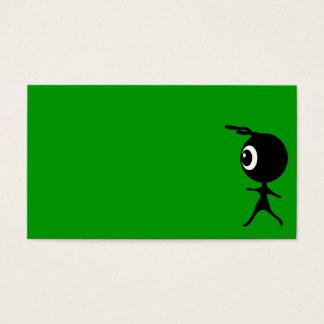 10030 CUTE LITTLE BLACK GREEN ALIEN CARTOON WALKIN BUSINESS CARD
