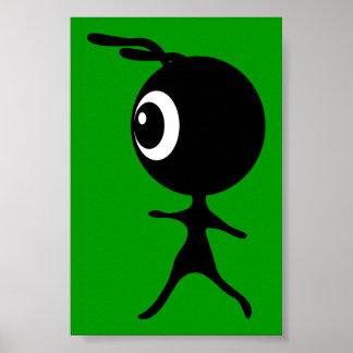 10030 CUTE LITTLE BLACK GREEN ALIEN CARTOON WALKIN POSTER