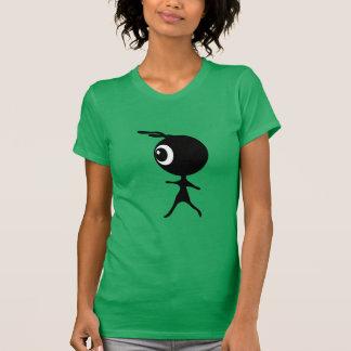 10030 CUTE LITTLE BLACK GREEN ALIEN CARTOON WALKIN T-Shirt
