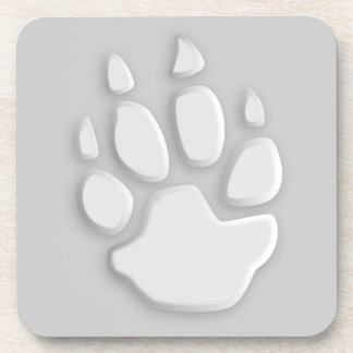 1008 WHITE PAW PRINT TRACE LOGO GRAPHIC DRINK COASTERS