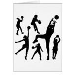 10097-netball-silhouette-vector SPORTS NET BALL PE Greeting Cards