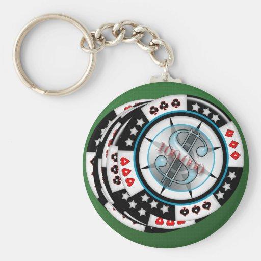 $100,000.00 Gambling Poker Chips Stack Basic Round Button Keychain