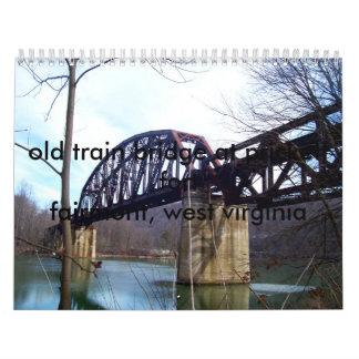 100_0065, old train bridge at prickett fort fai... wall calendars
