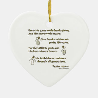 100:4 del salmo - 5 adorno navideño de cerámica en forma de corazón