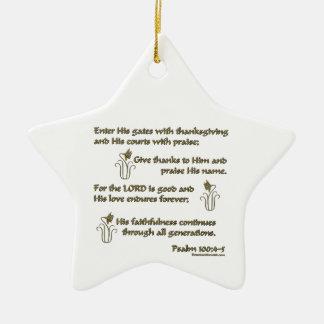 100:4 del salmo - 5 adorno navideño de cerámica en forma de estrella
