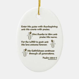 100:4 del salmo - 5 adorno navideño ovalado de cerámica