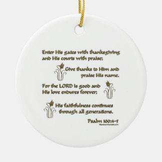 100:4 del salmo - 5 adorno navideño redondo de cerámica