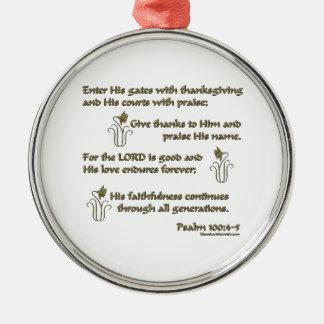 100:4 del salmo - 5 adorno navideño redondo de metal