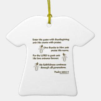 100:4 del salmo - 5 adorno de cerámica en forma de camiseta