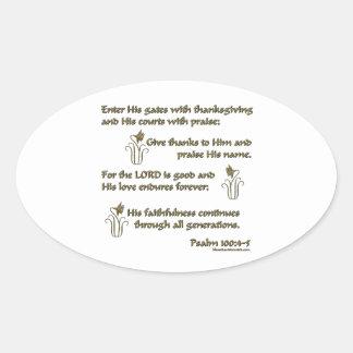 100:4 del salmo - 5 pegatina oval personalizadas