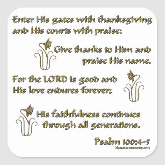 100:4 del salmo - 5 pegatina cuadrada