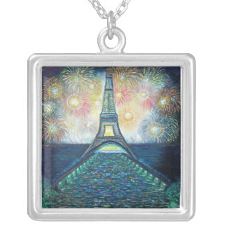 100_6731 Fireworks on Sterling Silver Square Pendant Necklace