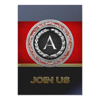 "[100] ""A"" Silver Vintage Monogram Card"