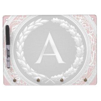 "[100] ""A"" Silver Vintage Monogram Dry-Erase Whiteboard"