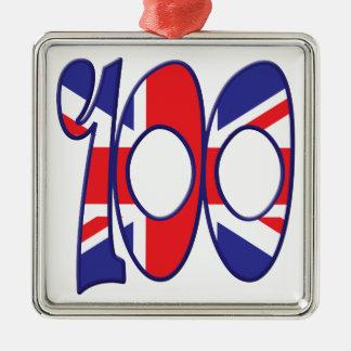 100 Age UK Silver-Colored Square Decoration
