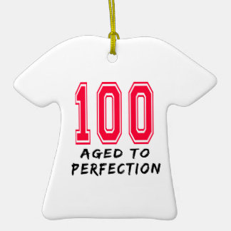 100 Aged To Perfection Birthday Design Double-Sided T-Shirt Ceramic Christmas Ornament