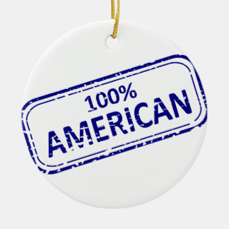 100% American Reubber-stamp blue on white Ceramic Ornament