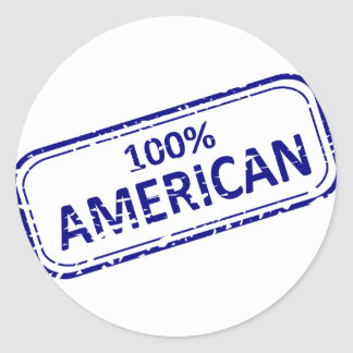 100% American Reubber-stamp blue on white Classic Round Sticker